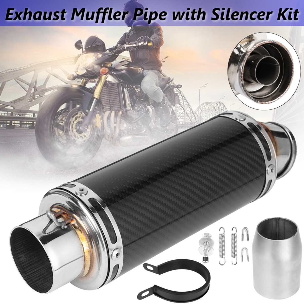 38-51mm Carbon fiber Exhaust Muffler Pipe Slip On Motorcycle Exhaust system