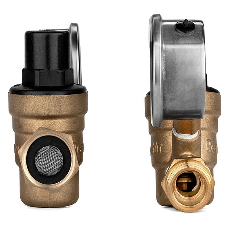 M11-0660R Water Pressure Regulator Valve. Br Lead-Free Adjustable Water Pressure Reducer with Gauge for RV Camper
