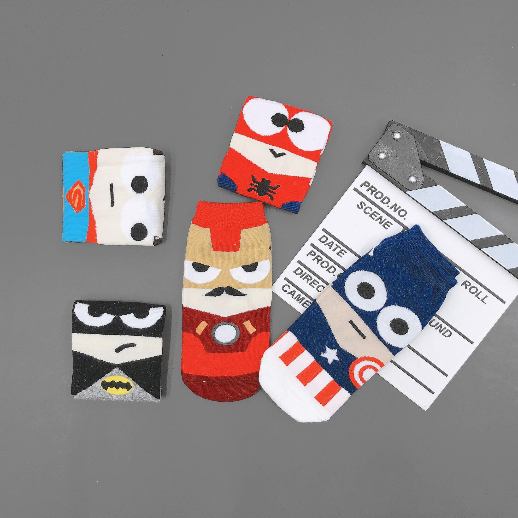 Men Socks Marvel Superman Spiderman Batman Captain America Iron Man Cartoon Cute Cool Funny Colorful Happy Short Socks