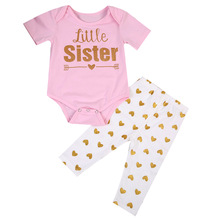 2PCS Set Sister Match Clothes New Big Sister T-shirt Tops Pant Little Sister Baby Bodysuit+Pant Heart Print Outfit Clothes sister sister