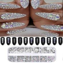 3D ногтей Кристалл блеск горный хрусталь прямоугольные стеклянные украшения с бриллиантами драгоценные украшения
