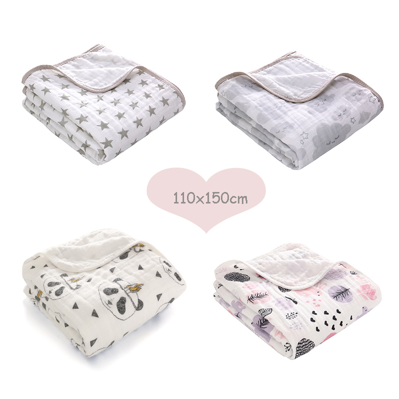 1Pcs Cotton Baby Swaddles Soft Newborn Blankets Multifunction Printed Swaddles Wrap White Double Gauze Bath Towels Play Mats