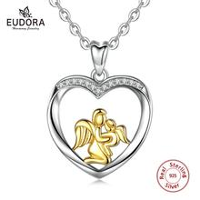 Eudora 925 Sterling Silver Mother and Child Necklace Heart Pendant Gold angel mom Charm Jewelry for New Mom baby CYD053