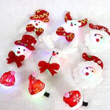 Hairpin-Brooches Party-Ornament-Supply Led-Light Luminous-Pin Christmas Snowman Santa