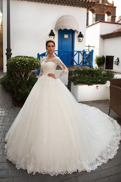 Custom Made Long Sleeve Tulle Bolero Jacket Ball Gown Wedding Dresses 2019 Luxury Chapel Train Vintage Wedding Gowns