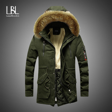 Hooded Jacket Coat Parkas Men 2019 Winter Long Casual Fur Collar New Outdoor Fashion Warm Fleece Thick Cotton Overcoat Parka Men
