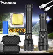 Super brightest XHP70 LED flashlight zoom waterproof torch use 18650/26650 battery for camping,hiking