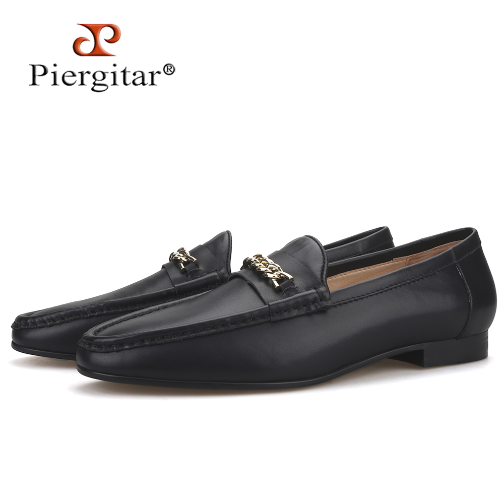 Piergitar New Design Handmade Men Penny Loafers With Gold Buckle Cow Leather Slip-on Men's Dress Shoes For Wedding And Party