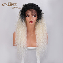 Stamped Glorious 24inches Ombre Black White Curly Wig Synthetic Lace Front Wig for Women Heat Resistant Fiber Long Lace Wig fluffy curly heat resistant synthetic long lace front wig