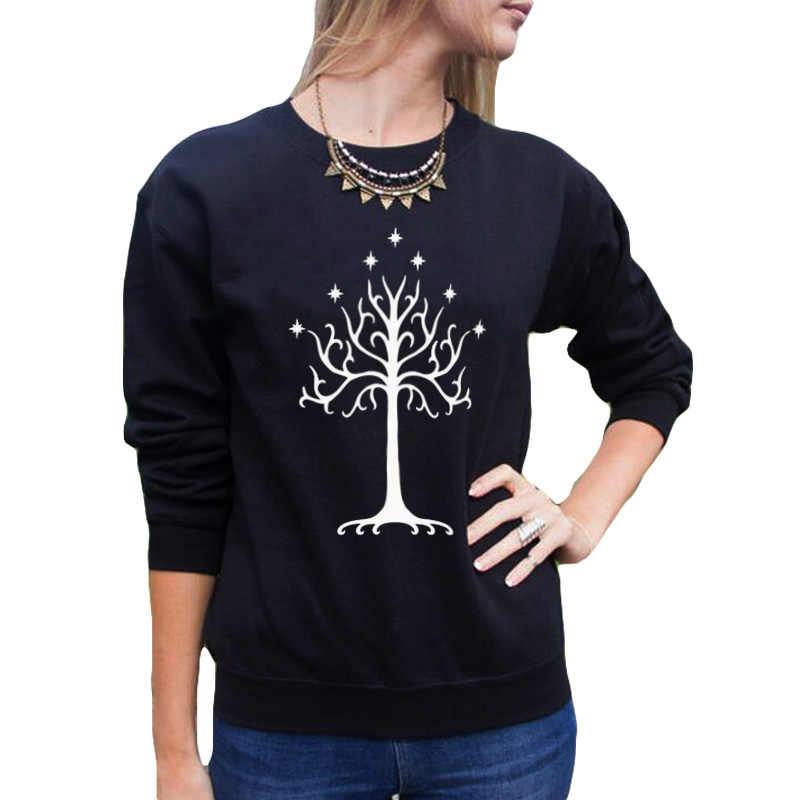 Śliczne białe drzewo gondoru bluza Harajuku sweter z dzianiny kobiety Crewneck bluzy z kapturem na co dzień kobiet dres