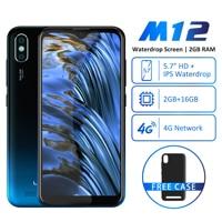 LEAGOO M12 Mobile Phone 5.7 19:9 HD+ IPS Waterdrop Screen Quad core 2GB RAM Android 9.0 3000mAh 8MP Dual Camera 4G Smartphone