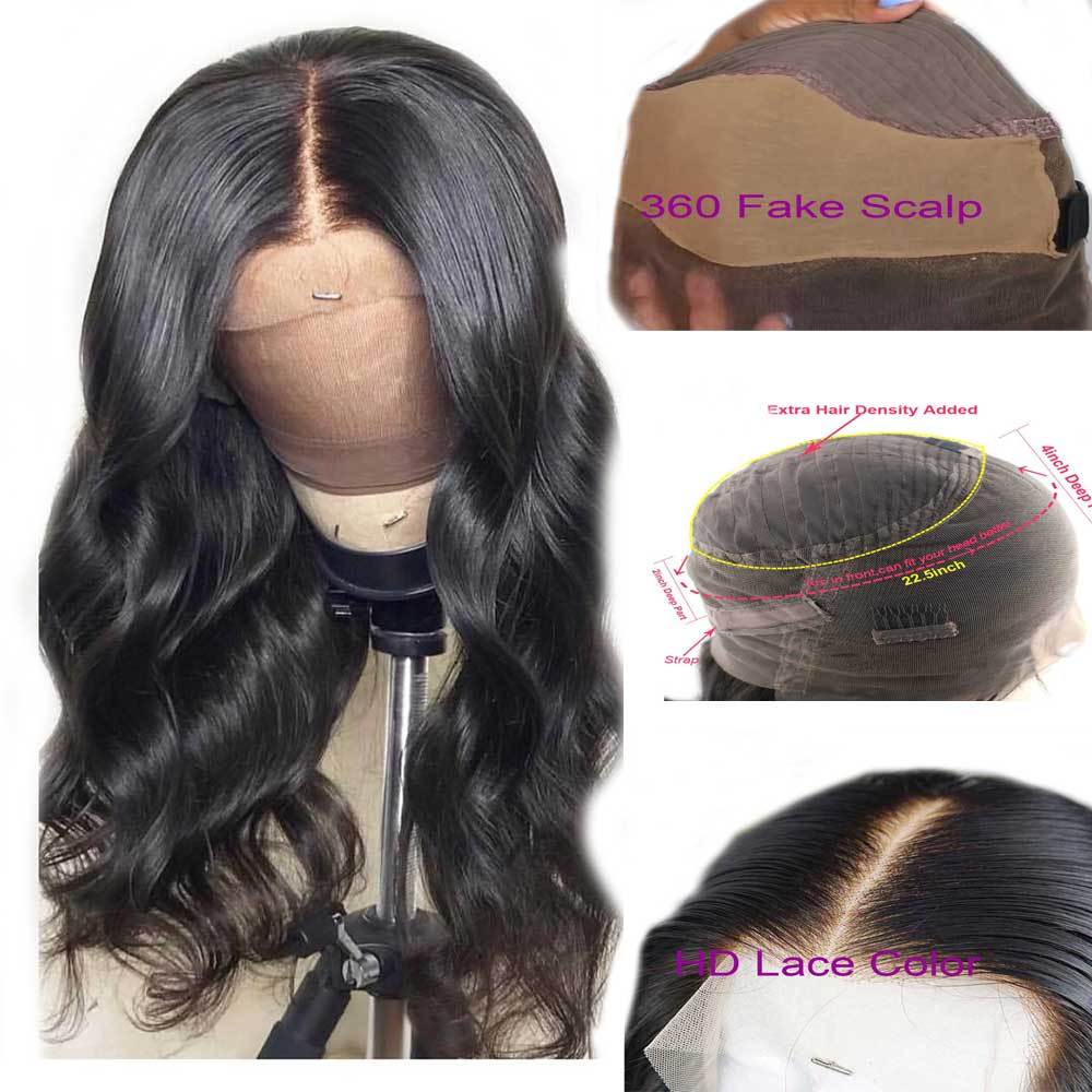 Body Wave 360 Lace Frontal Wig Pre Plucked With Baby Hair Fake Scalp Wig Remy Invisible HD Transparent Lace Wigs For Black Women