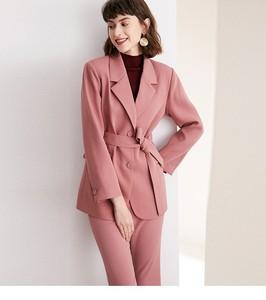 Image 2 - חליפה קטנה חליפת סט, סתיו ורוד חליפת מעיל + ישר מכנסיים חליפת שני חלקים, רזה גוף ומותנים, מראה מקצועי ol סגנון