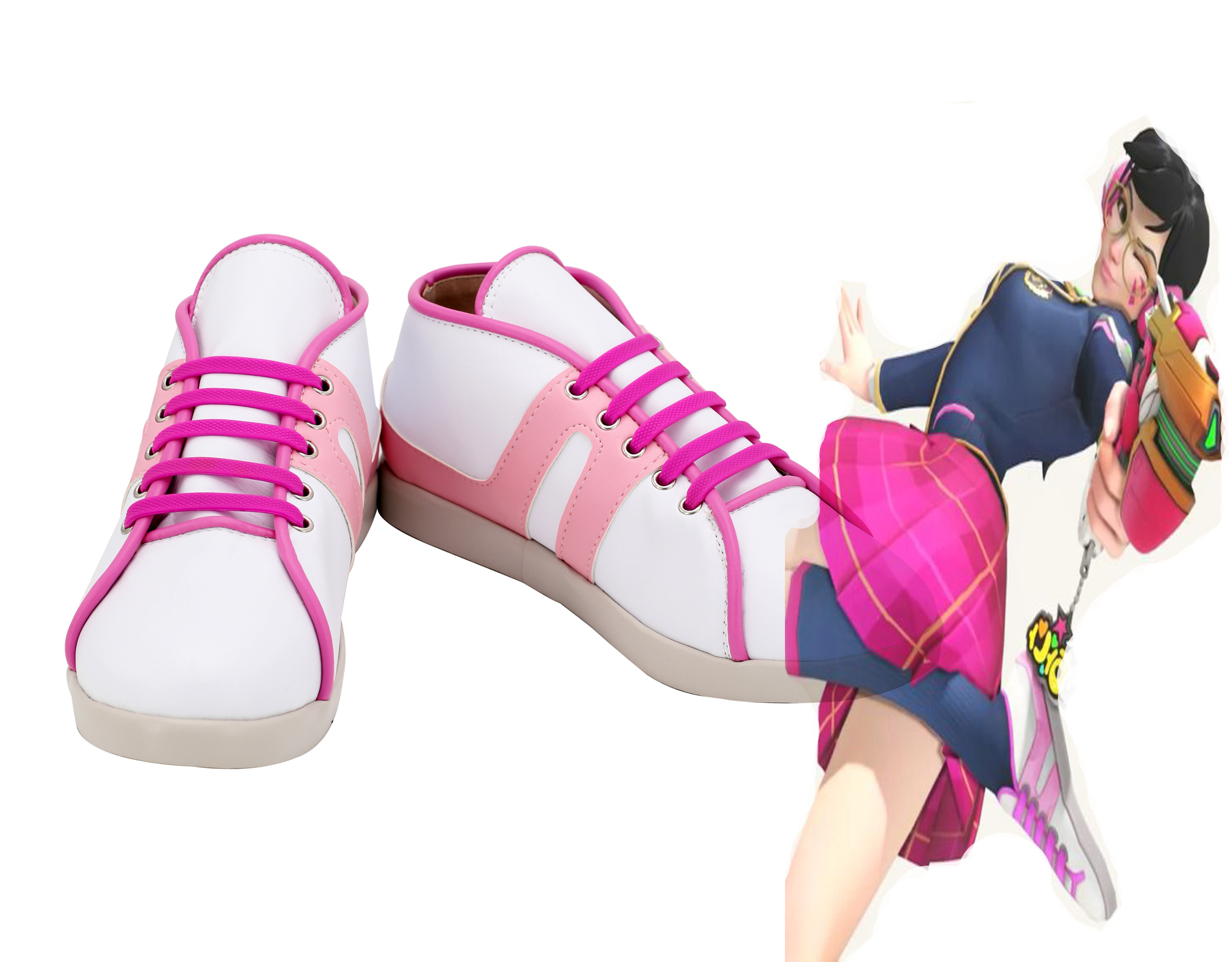 OW Hana Song Cosplay D.VA <font><b>DVA</b></font> Cosplay <font><b>Shoes</b></font> Academy Girls Pink Boots For Girls image