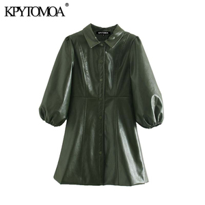 Vintage Stylish Faux PU Leather Mini Dress Women 2020 Fashion Lapel Collar Three Quarter Lantern Sleeve Female Dresses Vestidos