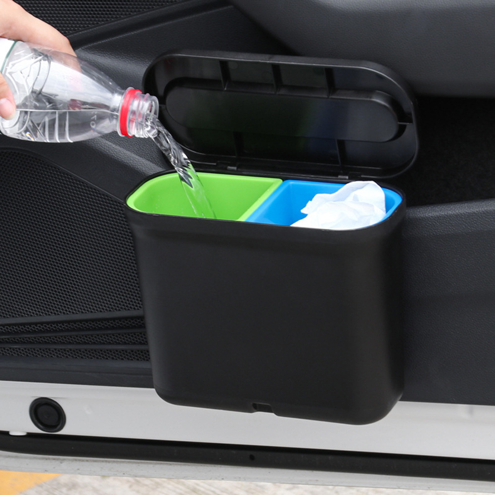 1.7L Car Trash Can Garbage Holder Auto Storage Bag Auto Door Seat Back Hanging Trash Bin Paper Dustbin With 2 Compartments