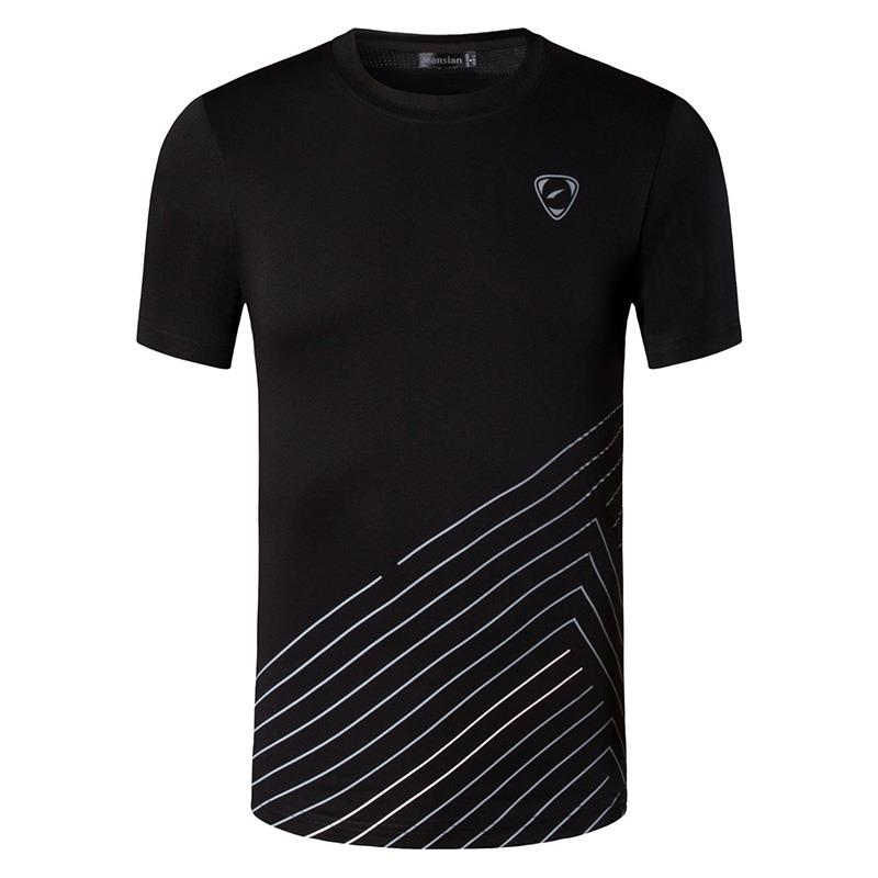 jeansian Men 39 s Sport Tee Shirt Tshirt T Shirt Tops Running Gym Fitness Workout Football Short Sleeve Dry Fit LSL115 Black in T Shirts from Men 39 s Clothing
