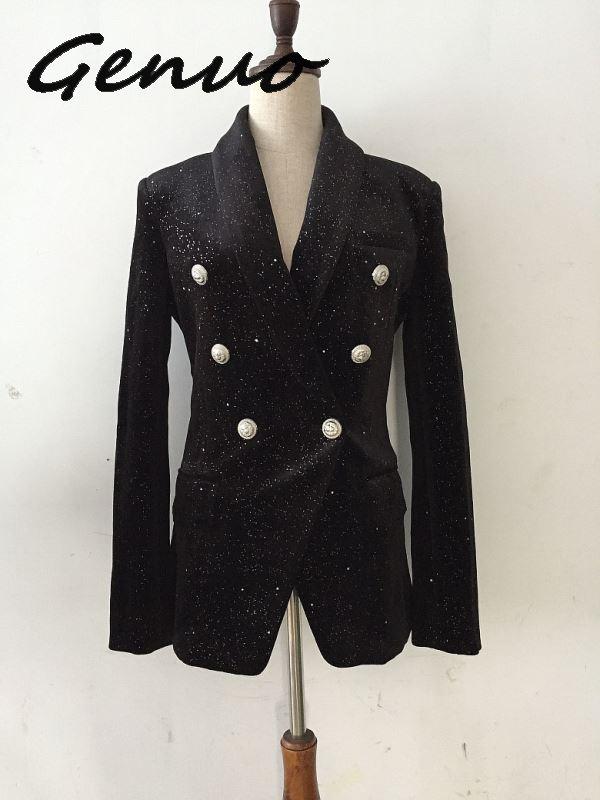 Newest Baroque Fashion 2019 Designer Blazer Jacket Women's Shawl Collar Bling Star Velvet Blazer Coat