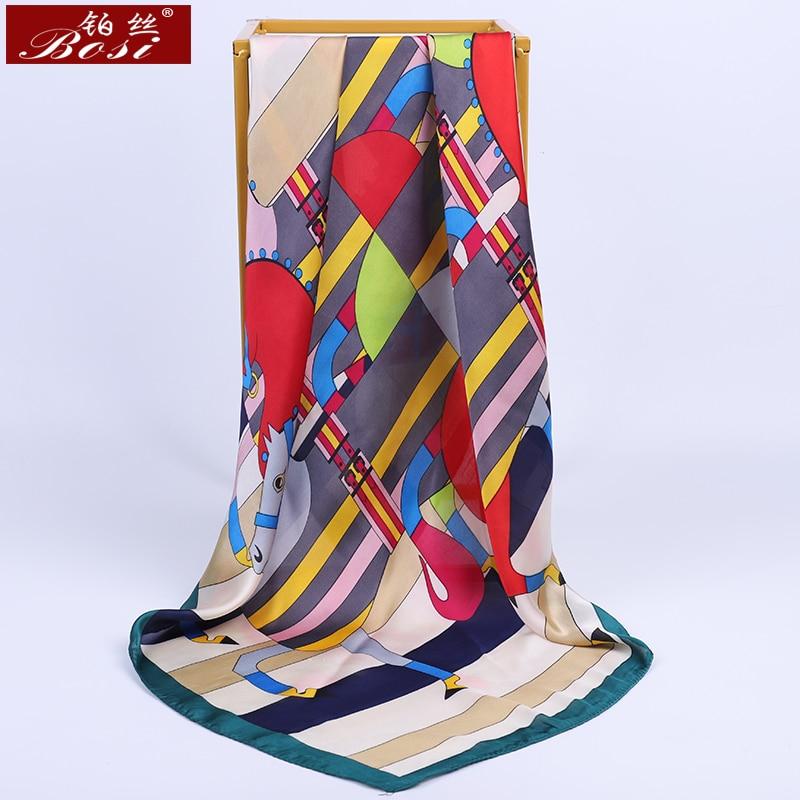 BOSI 2020 Luxury Brand Silk Scarf For Women Fashion Satin Scarf Plaid Stripes Print Stripe Shawl Elegant Yellow Square Scarves