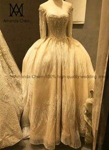 Image 2 - Женское вечернее платье с длинным рукавом, роскошное свадебное платье с жемчугом и кристаллами