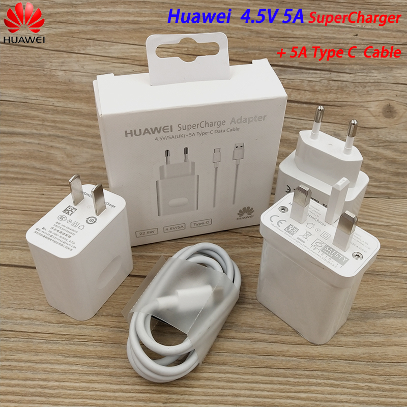 Original <font><b>Huawei</b></font> 5V 4.5A USB <font><b>Supercharge</b></font> Fast Charger 22.5W Adapter 5A Type C Cable For Mate 10 20 30 Pro X P30 P20 Pro P10 Plus image