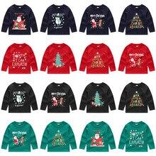 Для детей Рождественская Толстовка для маленьких мальчиков и девочек, забавные рождественские печати пуловер с круглым вырезом и длинными рукавами, толстовка, свитер Осень Топы