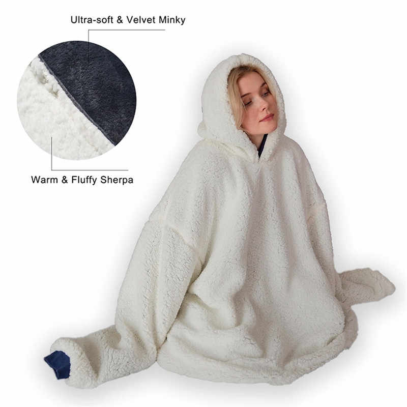 Adult Fleece Wearable Hooded Tv Blankets Plush Coral Winter Sherpa Blanket Robe Pattern With Sleeves Long Warm Pocket Hoodies Blankets Aliexpress