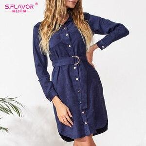 Image 5 - S.FLAVOR 가을 겨울 여성 스웨이드 셔츠 드레스 빈티지 긴 소매 사무 작업 드레스 우아한 여성 솔리드 무릎 길이 드레스