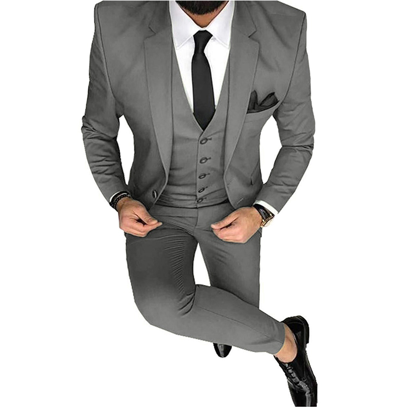 Men Suits Slim Fit Casual 3 Pieces Business Groomsmen Grey Green Champagne Lapel Tuxedos For Formal Wedding(Jacket+Pants+Vest)