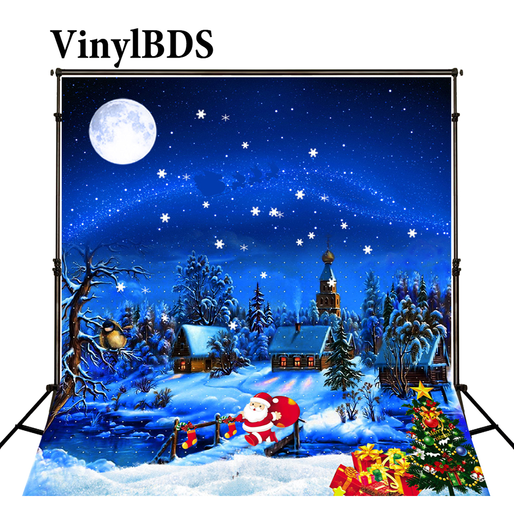 LUCKSTY 9x6ft Santa Claus Skiing with Reindeer Photography Backdrop Christmas Blue Sky Background LUZZ351