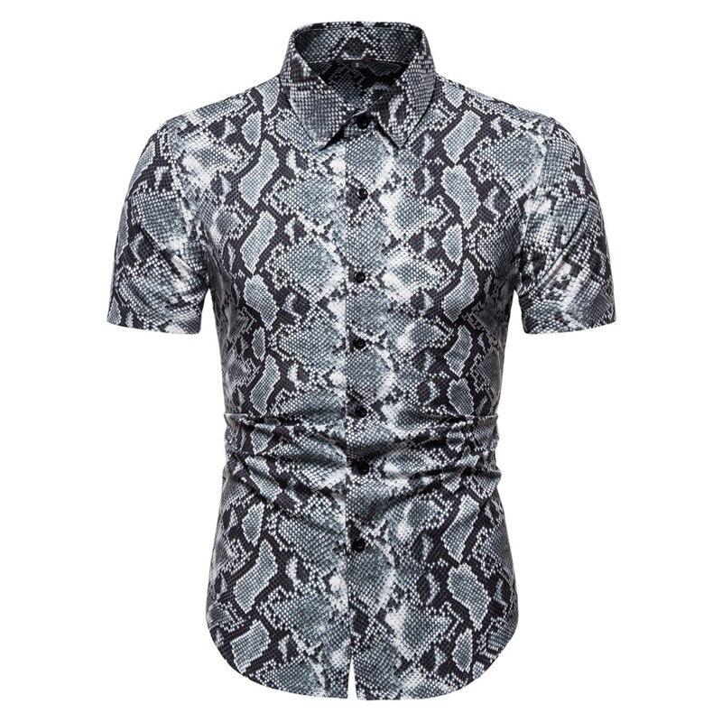 Fashion Snakeskin Pattern Print Shirt Men Chemise Homme 2020 Brand Slim Fit Short Sleeve Mens Shirts Party Nightclub Shirt Male