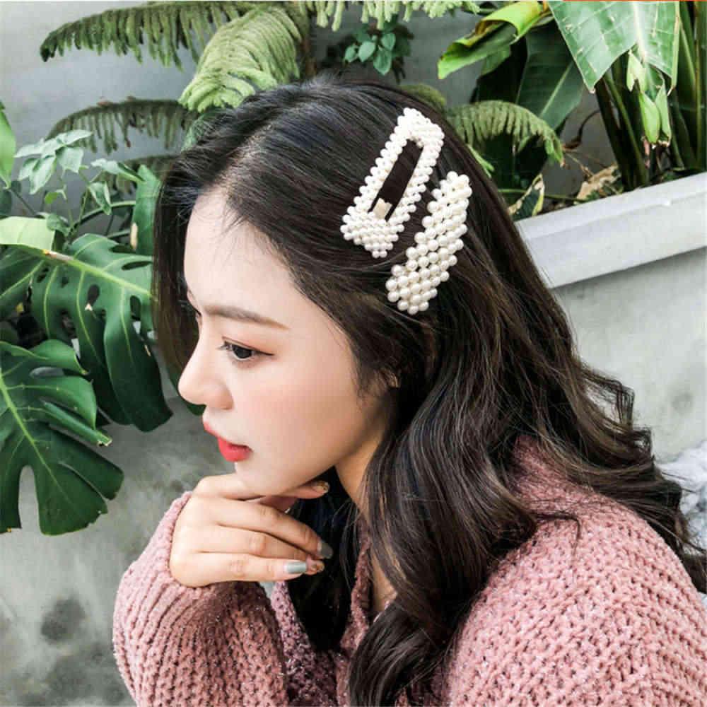 Fashion Wanita Penuh Mutiara Rambut Klip Snap Baret Tongkat Jepit Rambut Alat Styling Rambut Aksesoris Rambut Hairdryer Hadiah