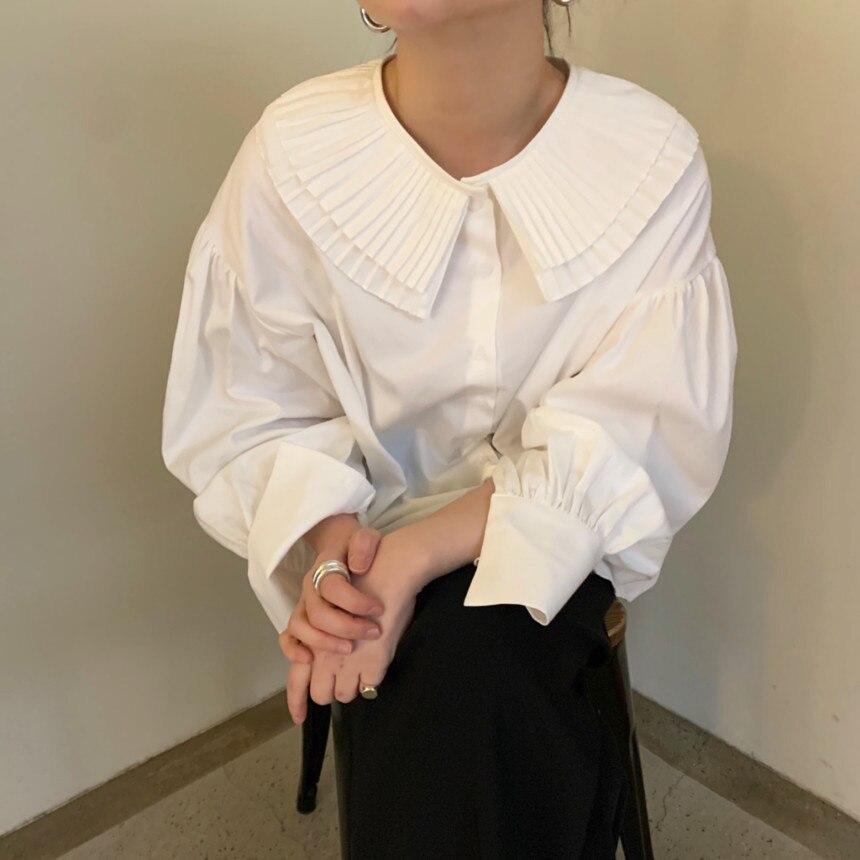H9ac94073a73a4cb7bd89dfead720ee90p - Spring / Autumn Korean Pilgrim Collar Long Sleeves White Blouse