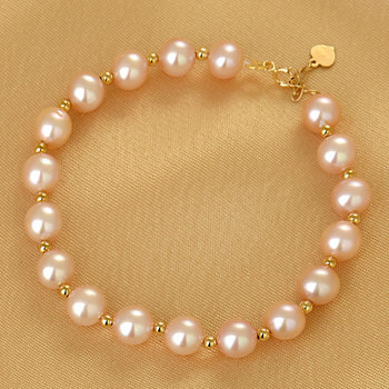 SA SILVERAGE 18K Gold with Pearl Golden Balls Single Row Bracelet AU750 Engagement Round Women