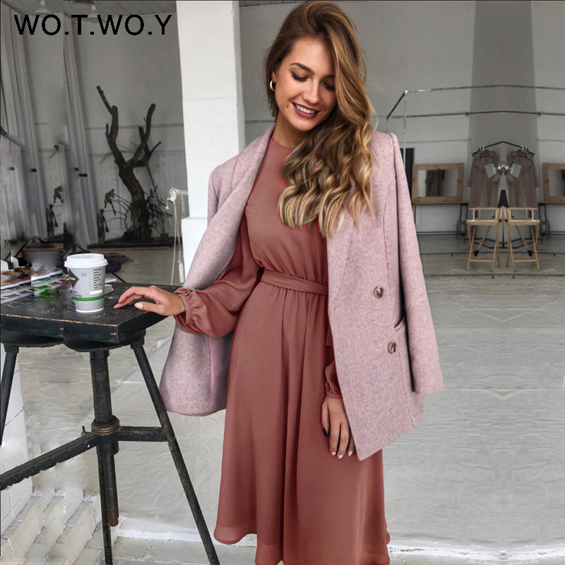 WOTWOY Office Lady Long Sleeves Dress Women 2020 Elegant Sashes Button Lady's Dress Mid-Calf Length Woman Dress Spring Summer