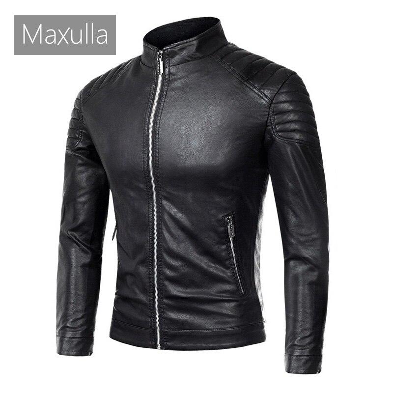Maxulla New Men's Leather Jackets Motorcycle PU Jacket Male Slim Fit Outwear Windbreaker Biker Leather Coats Brand Clothing