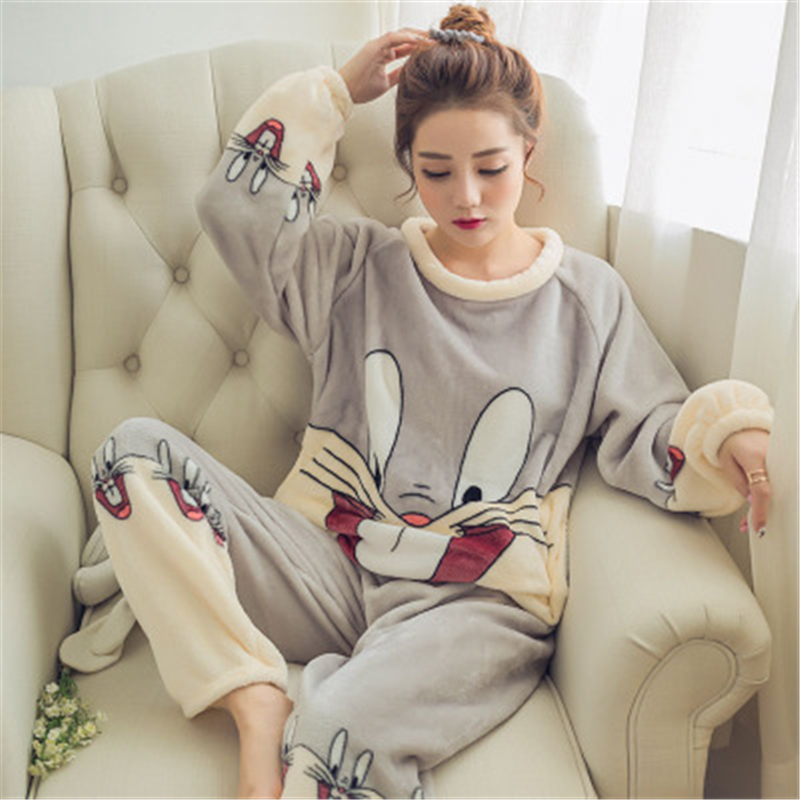 Pajama Women Flannel Warm Female Winter Pajama Set Long Sleeve Full Trousers Two Piece Pajamas Animal Cartoon Clothing