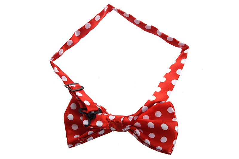 Red Bottom With White Large Polka Dot Pattern Bow Tie For Men