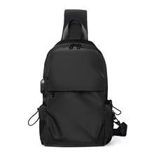 2021 spring new polyester gray chest bag usb charging tablet shoulder bag diagonal bag custom manufacturer