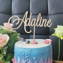 Personalized Name woodenAcrylic Cake Topper,Custom Happy Birthday Cake Topper Party Decoration Kids Birthday Party Supplies