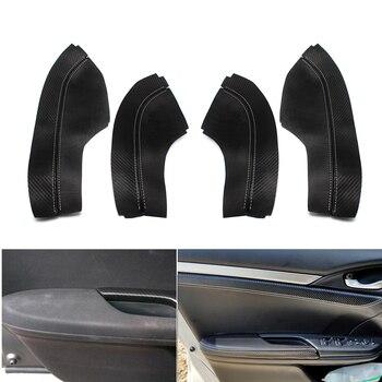 Черный с Текстура углерода микрофибра кожа 4 шт. дверные ручки панель + дверь Подлокотник Накладка для Honda Civic 10th Gen 2016 2017