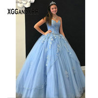 Charming Sky Blue Ball Gown Quinceanera Dresses Sweetheart Corset Back Tiered Skirt Sweet 15 Dress Puffy Skirt Prom Gowns 2020
