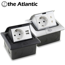 цена на EU DE Standard Pop-Up Floor Socket 16A USB Charging 2-Way Power Socket Quick Pop-Up Floor Power Outlet Box Aluminum Alloy