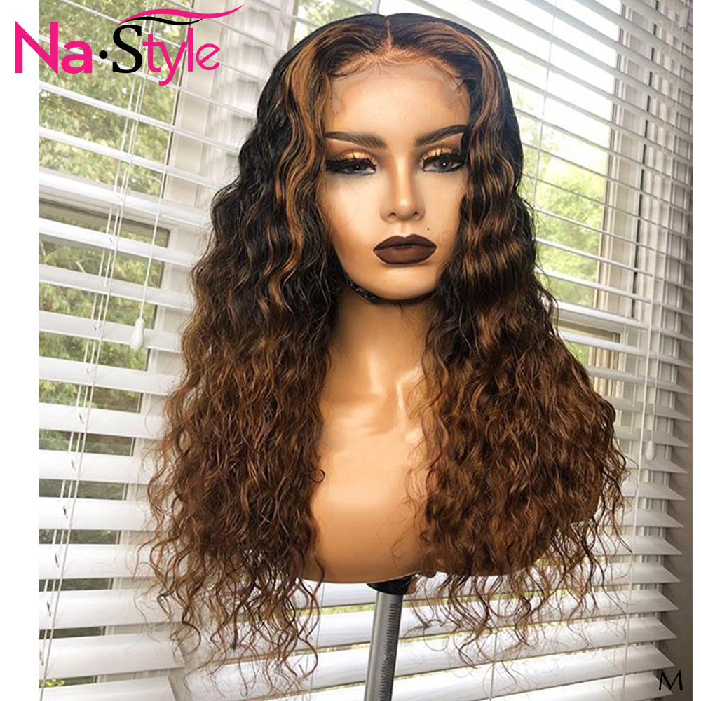 1b/4 Honey Blonde Lace Front Wig Natural Wig For Black Women 13x6 Deep Part Curly Human Hair Wig Pre Plucked Brazilian 150 Remy