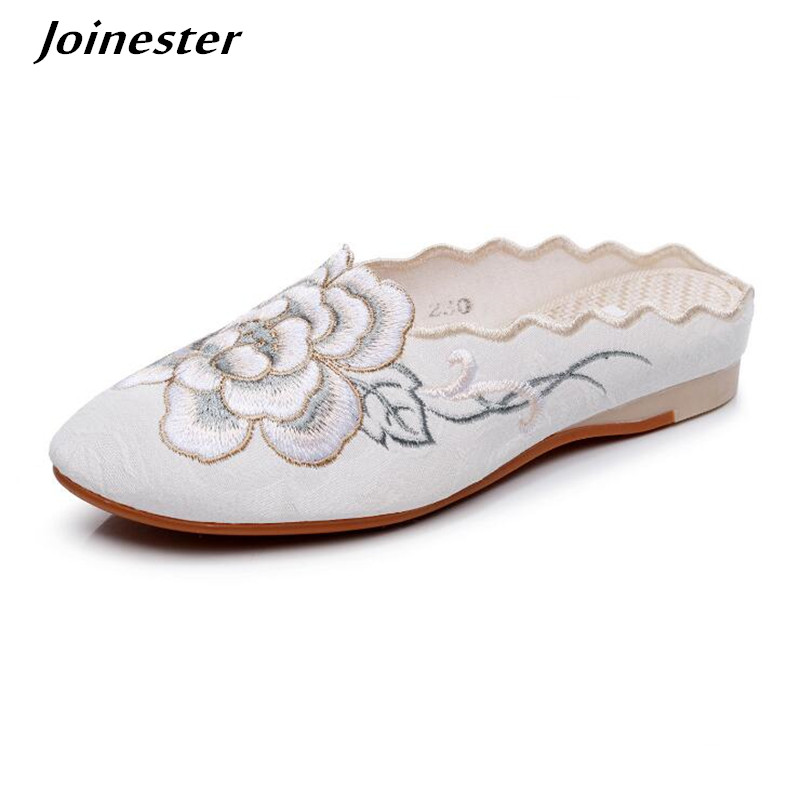 Women's Embroidered Slippers Backless Flats Pointed Toe Mules Chinese Floral Summer Slides Casual Beach Shoe FOR Woman Loafers