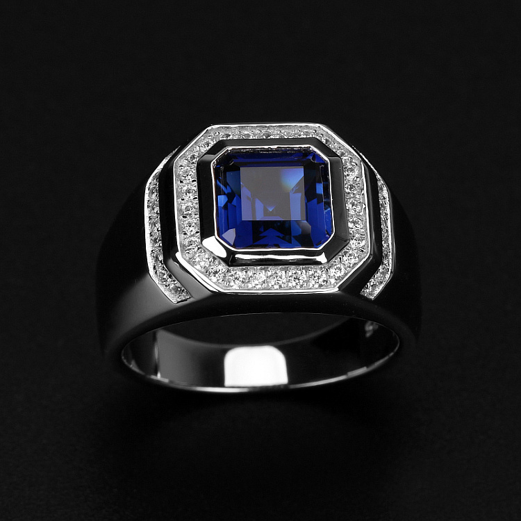Male 2ct Lab Sapphire Diamond Ring Real 925 Sterling Silver Jewelry Engagement Wedding Band Rings For Men Charm Party Accessory