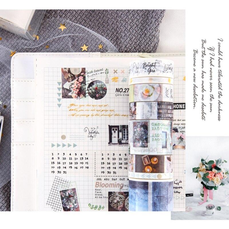 8pcs INS Style Paper Washi Tape Set Fantasy Blue Garden Green Coffee Time Sakura Floral Adhesive Masking Tapes Stickers A6403
