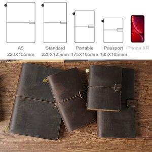 Image 2 - 50 peças/lote passaporte 135x105mm caderno de couro genuíno feito à mão do vintage diário diário sketchbook planejador
