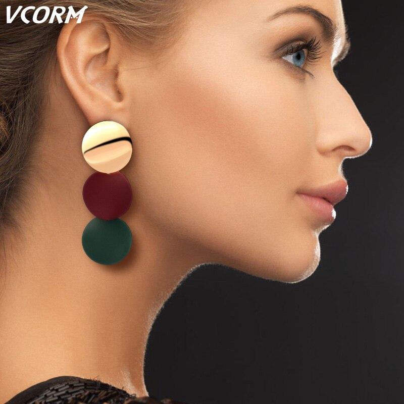 New Korean Acrylic Earrings For Women Statement Vintage Geometric Gold Dangle Drop Earrings 2019 Female Wedding Fashion Jewelry 1