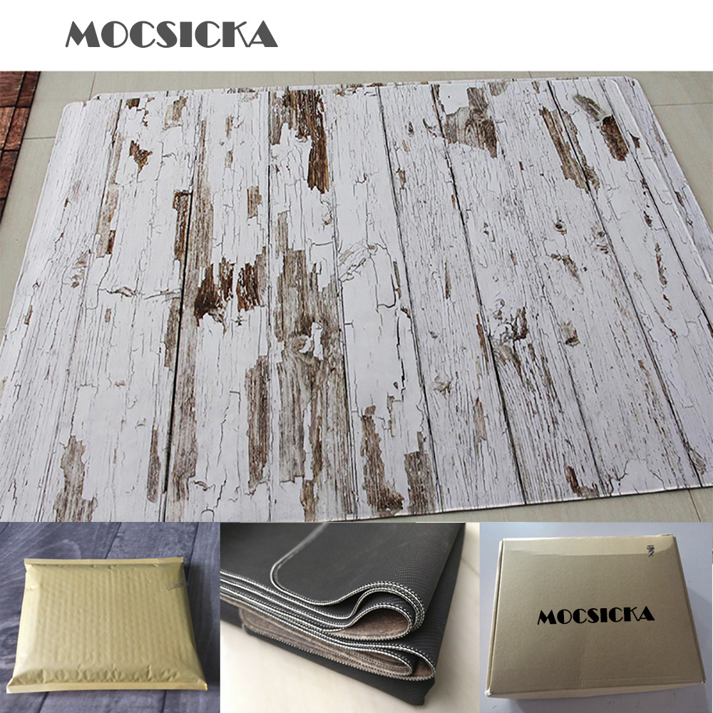 Mocsicka tapete de borracha foto piso de fundo impresso madeira do vintage recém-nascido pano de fundo do bebê anti-deslizamento de borracha tapete apoiado